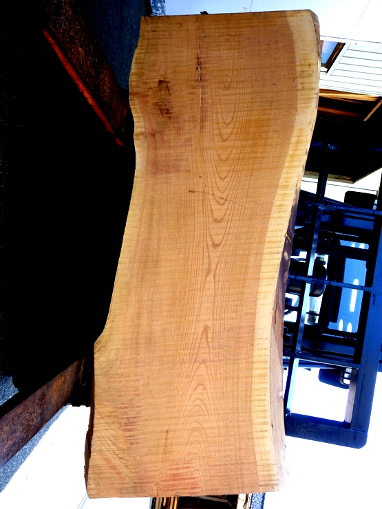 欅 1640×540~640(耳内側幅)×60 耳付きの板です。幅方向にほんの少し反りがあります。上端に450ミリ、下端に100ミリの割れがあります。