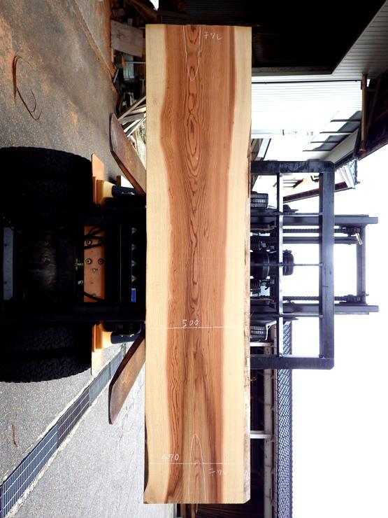 杉 2400×535×66 耳付きの板です。上端に250ミリ、下端に320ミリの干割れがあります。